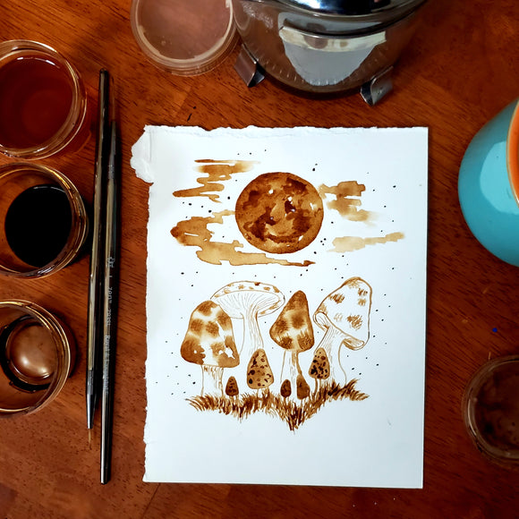 'Mushrooms By Moonlight' Coffee Art Painting