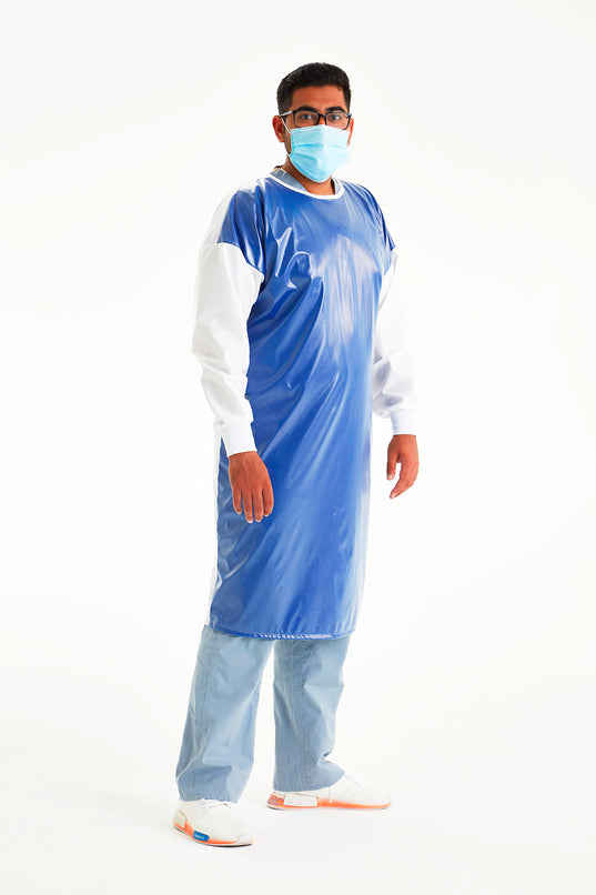 man-in-mask-wearing-royal-blue-white-reusable-level-3-gown