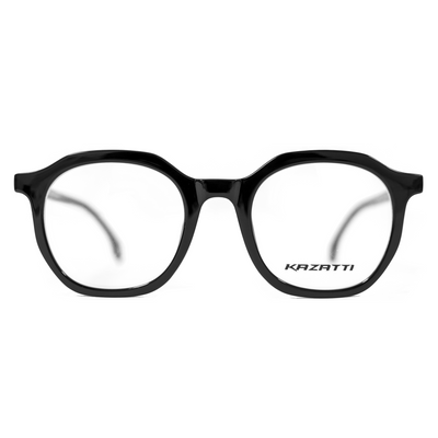 Oblique Eyeglasses in Shiny Black (8536) by KAZATTI - Raylite Optical Store