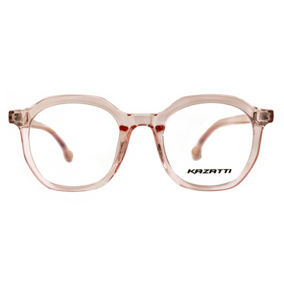 Oblique Eyeglasses in Clear Pink (8536) by KAZATTI - Raylite Optical Store