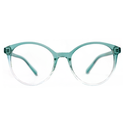 Round Eyeglasses in Clear Turquoise Ombré (TR8543) by KAZATTI - Raylite Optical Store