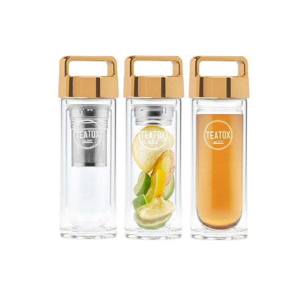 Thermo Go Bottle - Thermosflasche aus doppelwandigem Borosilikatglas (Gold, 330ml)