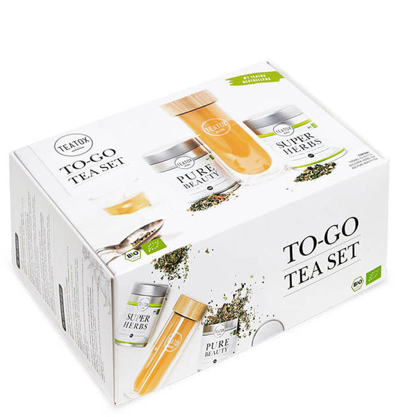 TEATOX To Go Tea Set Bio - Pure Beauty Dose (60g), Super Herbs Dose (50g) & Thermo-Go Bamboo