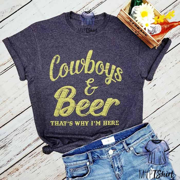 Cowboys & Beer Graphic Tee - mvptshirt