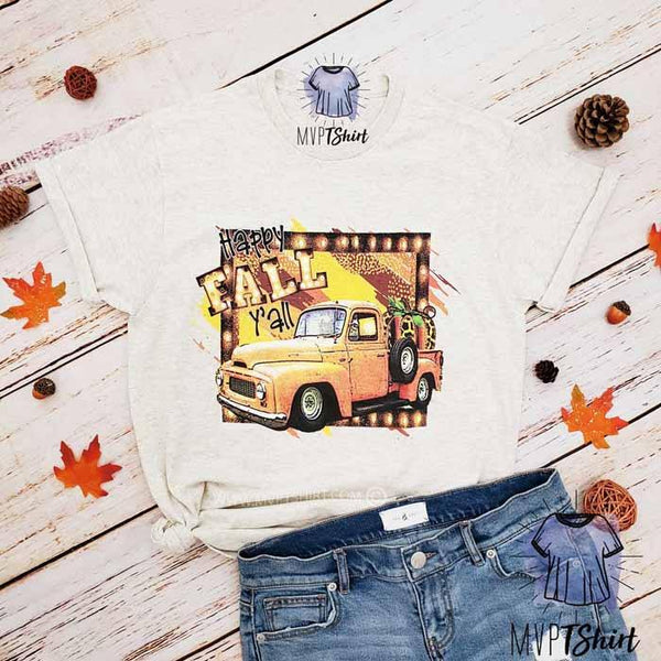 Happy Fall Pumpkin Graphic Tee - mvptshirt