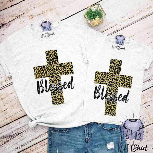 Leopard Cross Blessed Shirts - mvptshirt