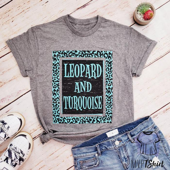 Leopard and Turquoise Shirt - mvptshirt