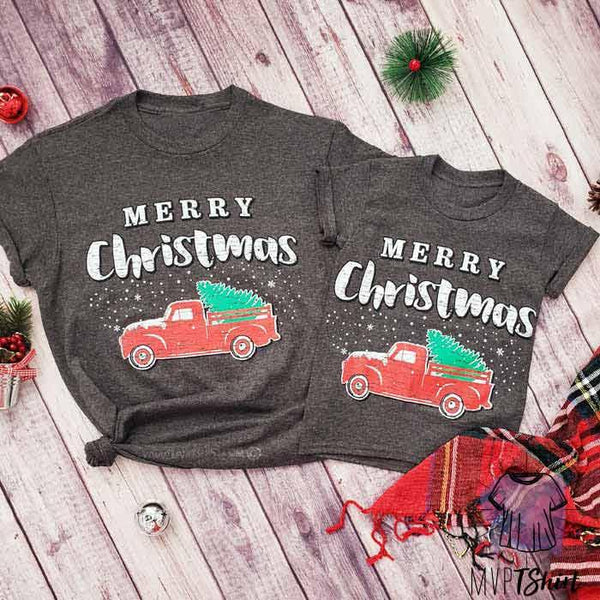 Merry Christmas Red Tree Truck - Mommy & Me Outfit - mvptshirt