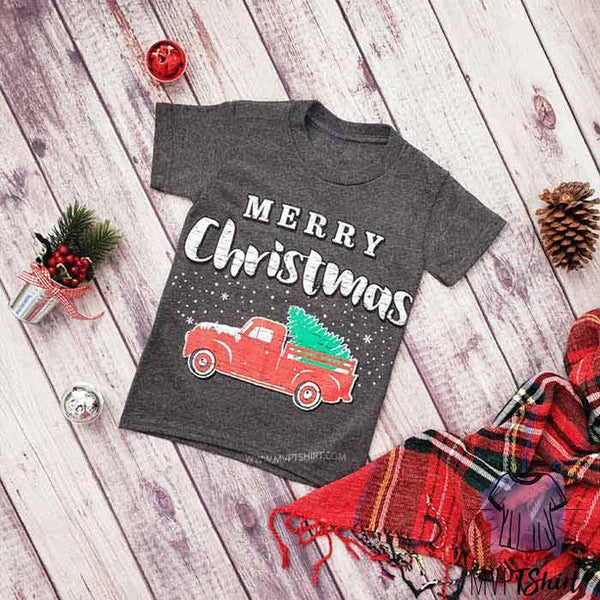 Merry Christmas Red Tree Truck Youth - mvptshirt