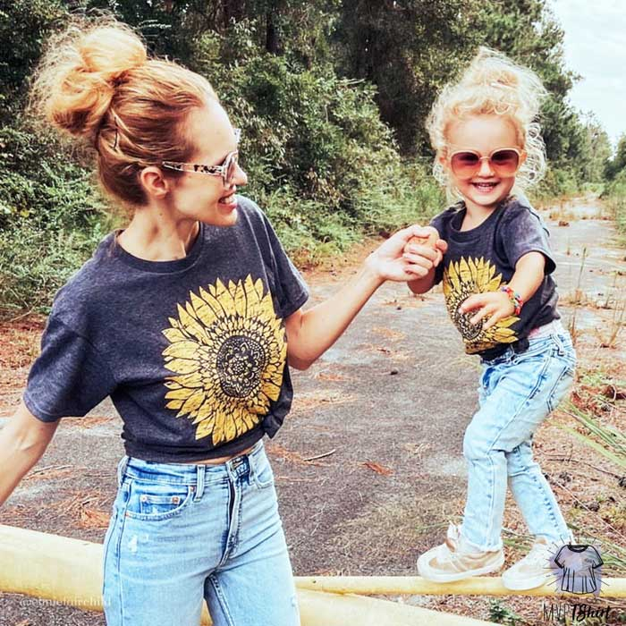 Mommy and Me Sunflower Matching - mvptshirt