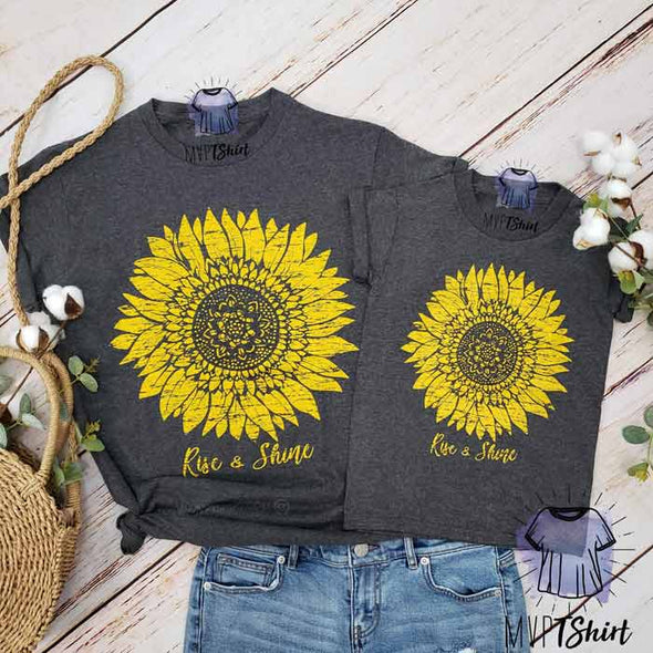 Sunflower Rise & Shine - Mommy & Me Outfit - mvptshirt