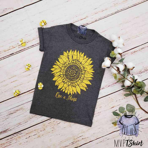 Sunflower Rise & Shine  Youth Shirt - mvptshirt