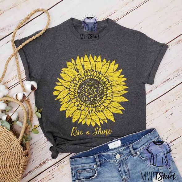 Women's Rise And Shine Sunflower T-Shirt - Mvptshirt