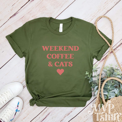 Women's Weekend Coffee And Cats Letter T-Shirt - Mvptshirt
