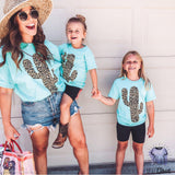 Leopard Cactus Mint - Mommy & Me - mvptshirt