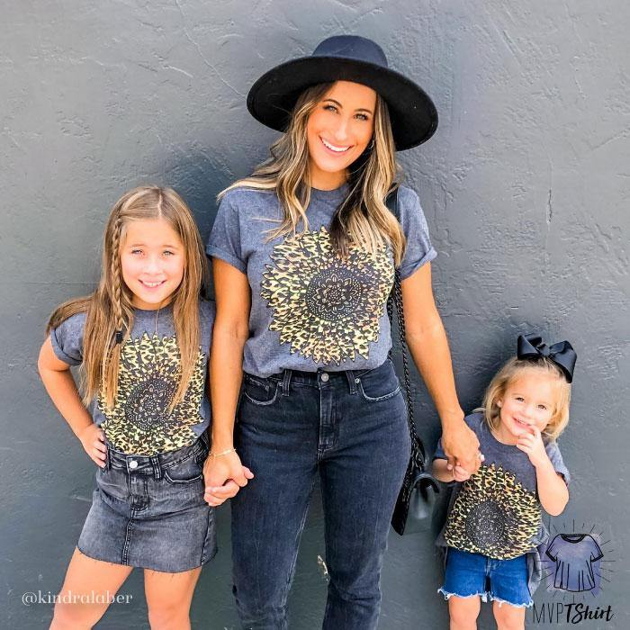 Leopard Sunflower  - Mommy & Me Outfit - mvptshirt