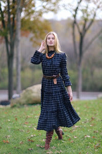 Alden Dress in Windowpane Check