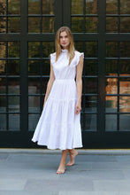 Load image into Gallery viewer, Alden Sleeveless Dress in Preppy Stripe White/White