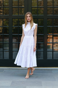 Alden Sleeveless Dress in Preppy Stripe White/White