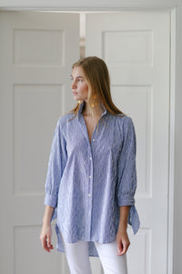 Bow Blouse in Crinkled Polka Dot Blue - CCH Collection