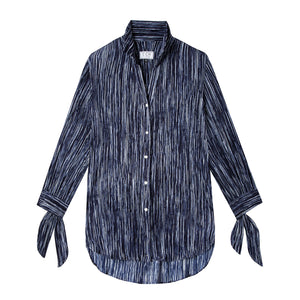 Bow Blouse in Drapey Disco Navy - CCH Collection