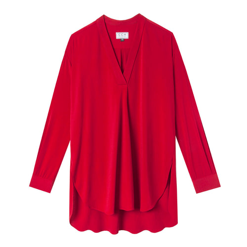 Carolyn Top in Tissue Georgette Red - CCH Collection