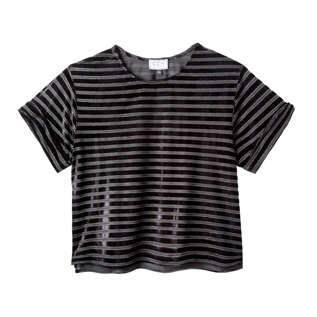 Chloe Crop Top in Velour Stripe - CCH Collection
