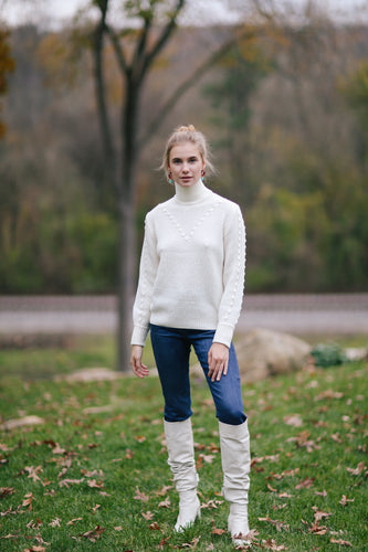 Emerson Fry Mila Sweater in Ivory Popcorn Lines