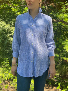 Bow Blouse in Crinkled Stripe Blue - CCH Collection