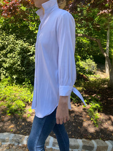 Bow Blouse in Preppy Stripe White/White