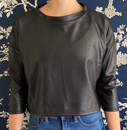 Clemmie Top in Black Faux Leather