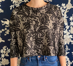Clemmie Top in Black and Gold Lace