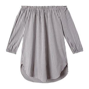 Ophelia Tunic in Spectator Stripe Gray/White - CCH Collection