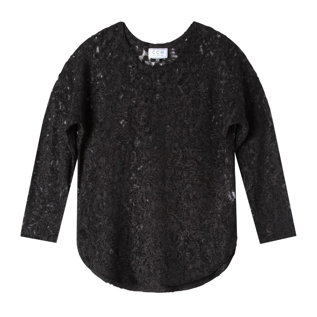 Richard Top in Velour Lace Black