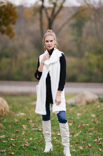 Vest in Striped Plush
