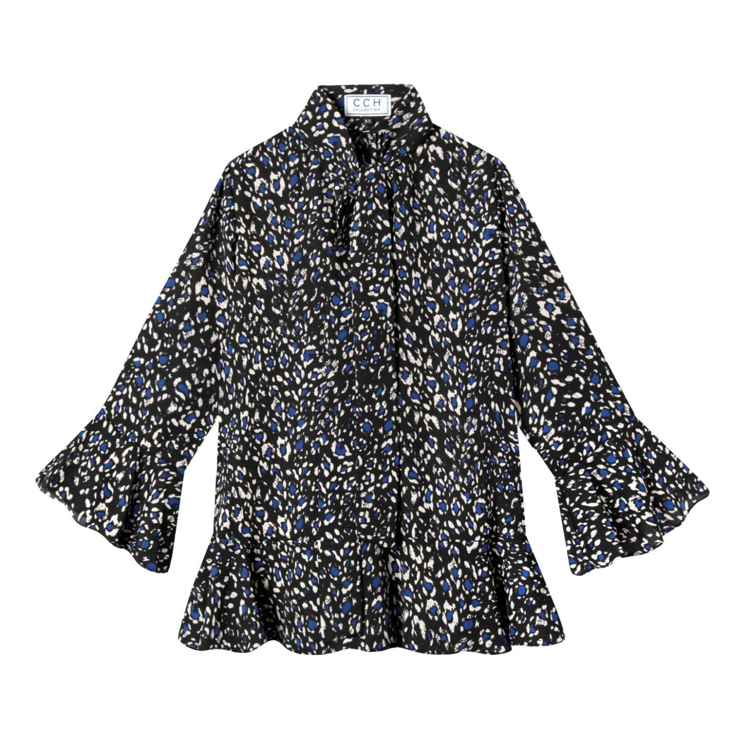 Watson Blouse in Cheetah Haze Blue