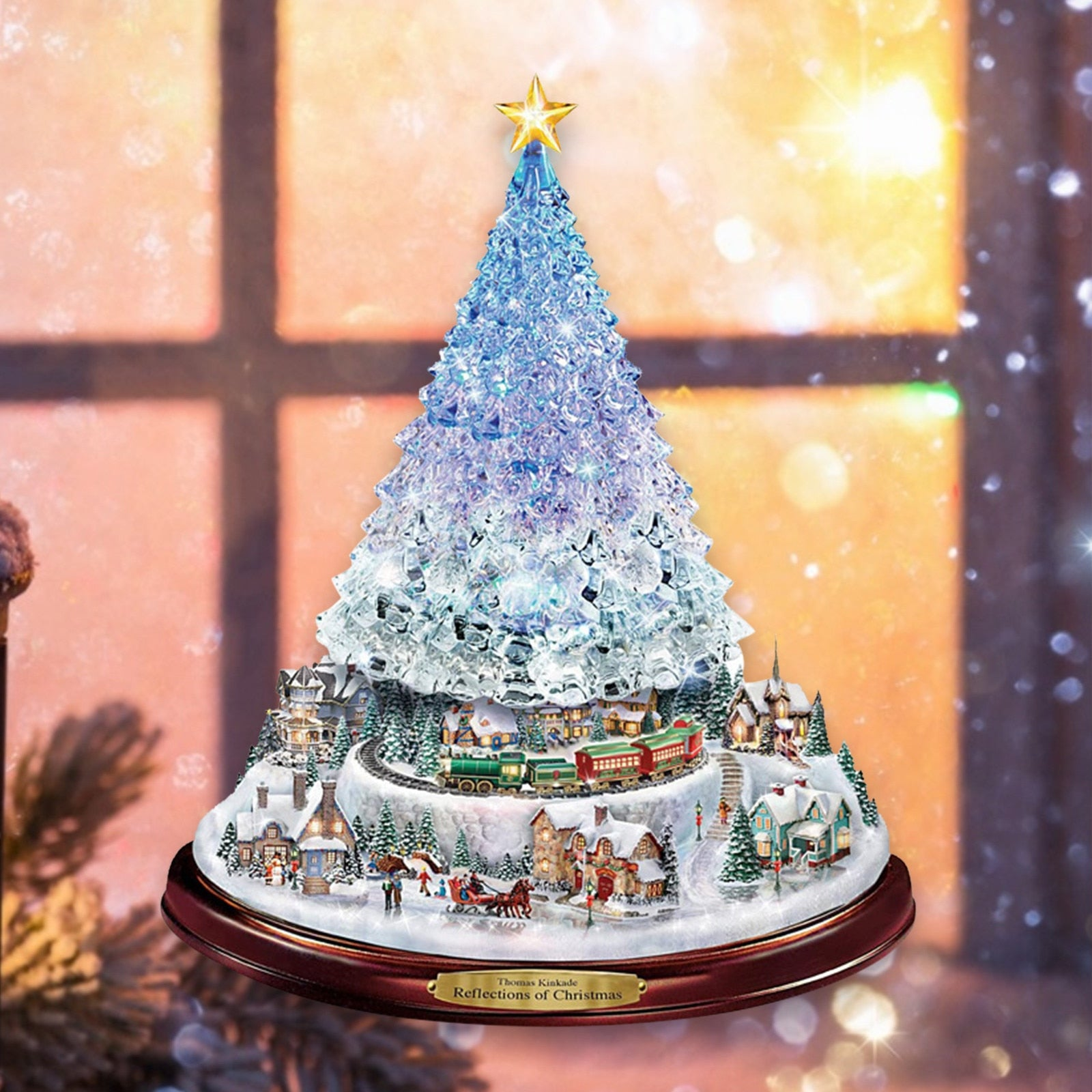 Christmas Tree Rotating Sculpture Train Decorations Paste Window Paste Stickers pegatinas paredes Christmas Decorations for Home