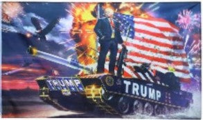 Donald J Trump flag standing on Tank USA