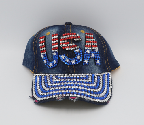 USA studded red white and blue jean hat