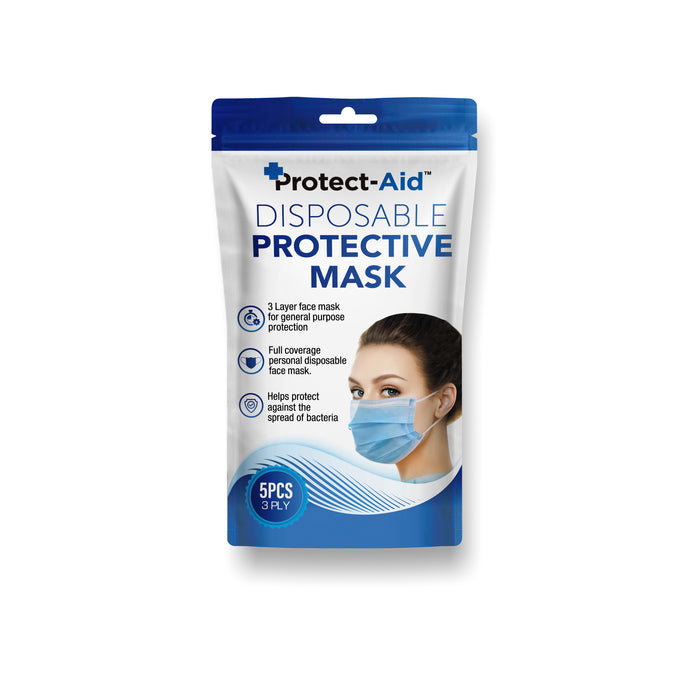 Protect-Aid Disposable Protective Face Mask 5pk