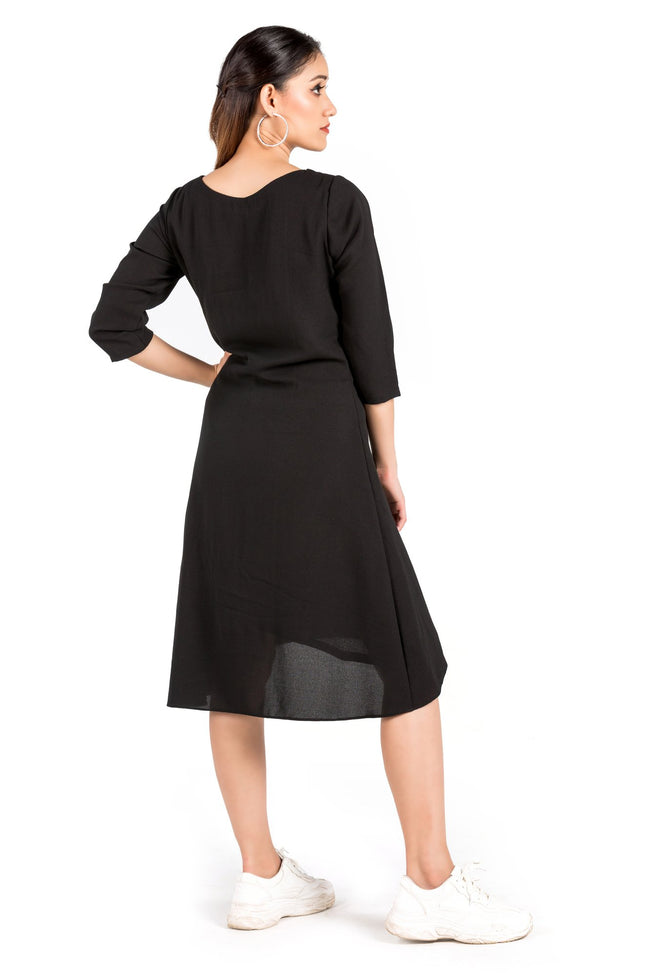 Black Asymmetric Mini Length Dress - Eudora Cut