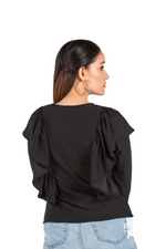 Black Casual Full Sleeve Frill Top - Eudora Cut