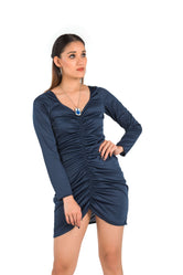 Classy Blue Center Gathered Dress