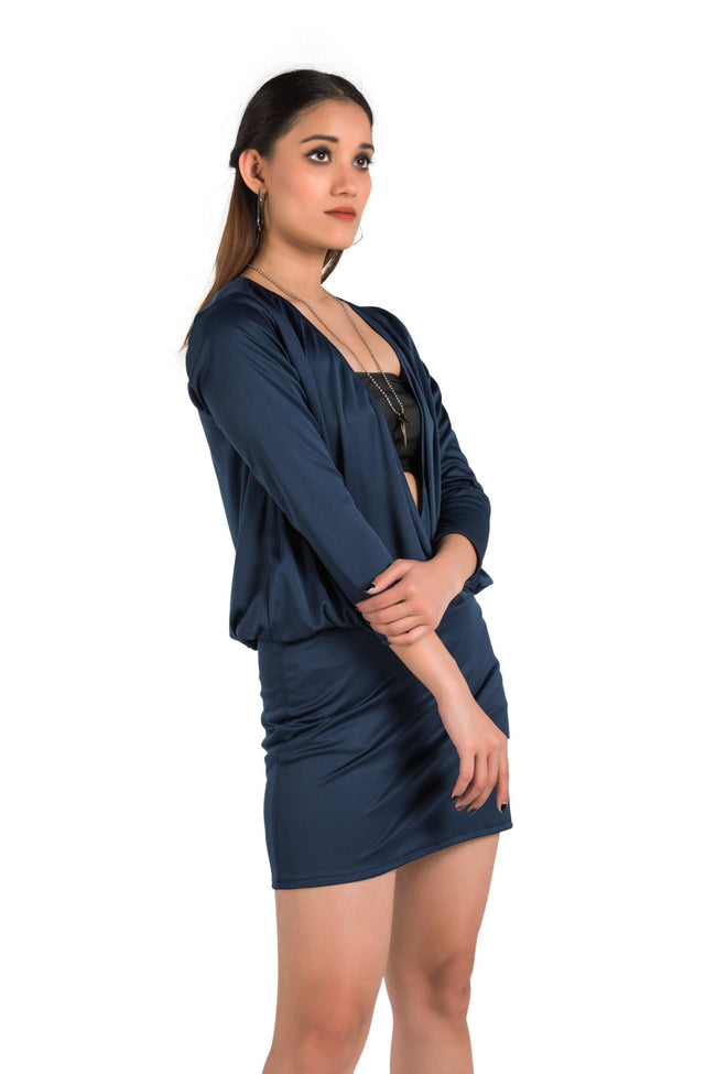 Be glam in Blue One Piece Wrap Dress - Eudora Cut