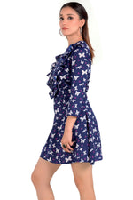 Frill Shoulder Mini Length Blue Dress - Eudora Cut