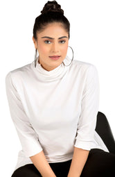 Get Unique With White Asymmetrical Cowl Neck Sweatshirt