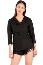 Black Cowl Neck & Full Sleeve Top