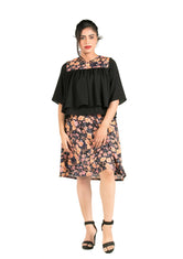 Black Floral Top With Layered Design