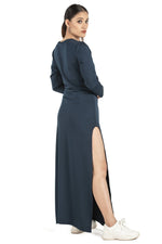 Classy Blue Side Slit Full Sleeve Dress - Eudora Cut