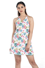 White Floral Sleeveless Dress - Eudora Cut